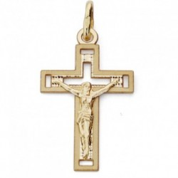 Cruz de oro 18k con cristo plana 22X13