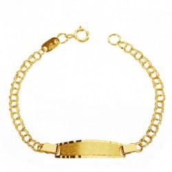 Esclava en oro 18 kilates hueca, pulsera chapa personalizada