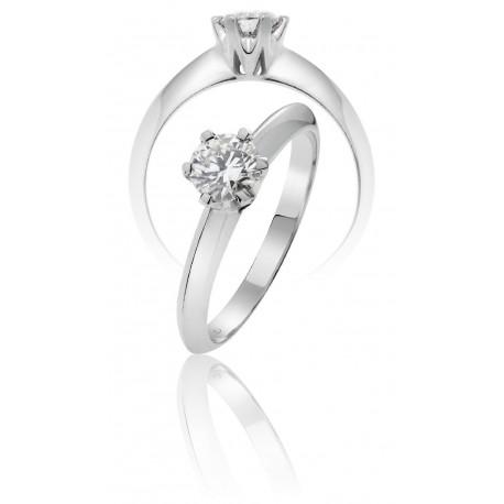 Solitario diamantes pedida  0.10 ct 6 garras oro blanco