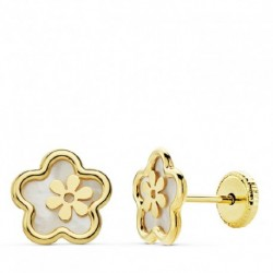 Pendientes de oro 18 ktes flor calada nacar 8 mm