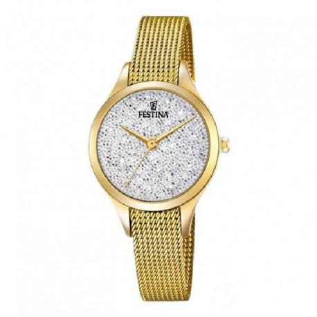 Reloj Festina mujer F20337/1 acero, analogico esf. plata Swarovski®