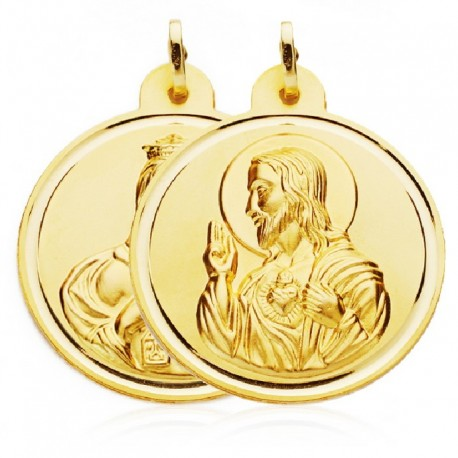 Medallas de oro Escapulario 14mm Virgen del carmen sagrado corazon