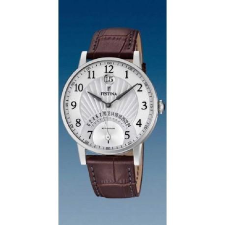 Reloj Festina hombre F16984/1 acero y cuero, reloj analogico dual-time