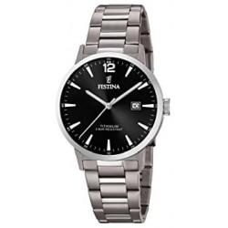 Reloj Festina hombre F20435/3 titanio, reloj analogico, esf. negra