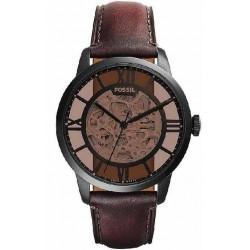 Reloj Fossil automatico ME3098 townsman, acero, ip negro, correa piel