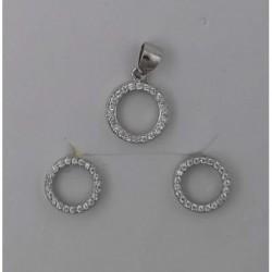 Conjunto plata circulo con circonitas