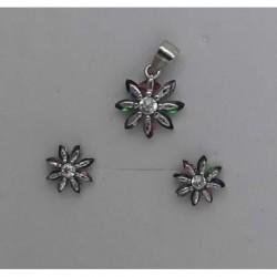 Conjunto plata flor multipiedra 1cm
