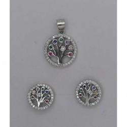 Conjunto plata arbol multipiedra colg1,4cm pend