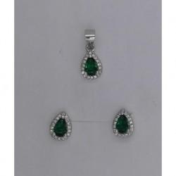 Conjunto plata gota peq.verde,azul o rosa