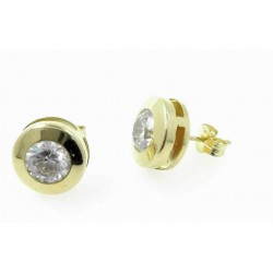 Pendientes oro chaton 6mm con circonita 18 ktes