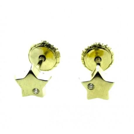Pendientes de oro estrella rosca con circonita