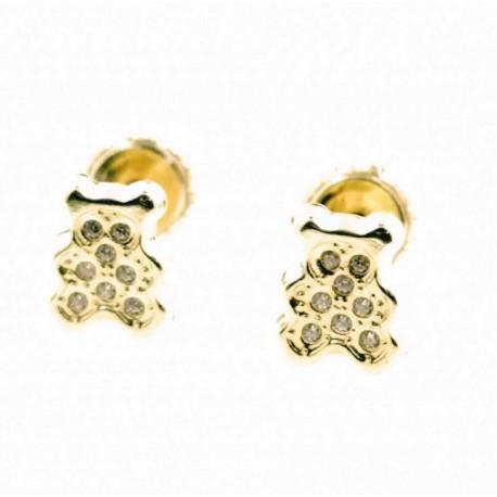 Pendientes de oro oso con circonitas 6 x 5 mm