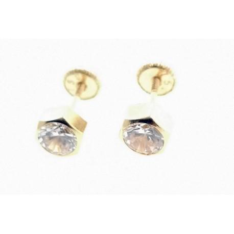 Pendientes de oro hexagono 5mm cierre rosca