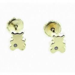 Pendientes de oro osos 5mm con circonita 18 ktes
