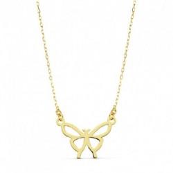 Gargantilla oro mujer forma mariposa 14X11 45 cms
