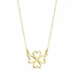 Gargantilla oro mujer forma cruz corazones 16X9 45CMS
