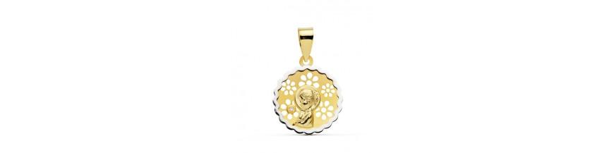 medalla de oro de 18 y 9 ktes con el regalo del grabado en todas